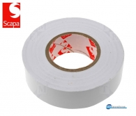 WHITE PVC LAMINATED INSULATION TAPE, 25m