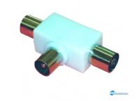 Διακλαδωτήρας πλαστικός επίγειος σε σχήμα Τ χωρίς πηνία. 1 είσοδο (TV female ) 2 έξοδοι (TV male).