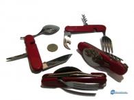 Μαχαίρι πτυσσόμενο με κουτάλι ,πιρούνι ,ανοιχτήρι , τιρμπουσόν και λάμα - 6σε1 .